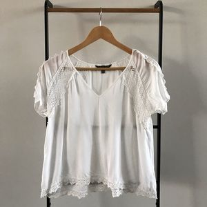 V neck lace white top